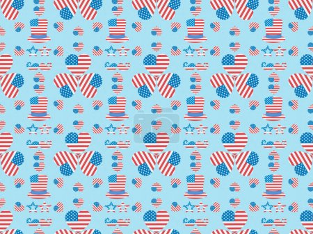 seamless background pattern with mustache, glasses, hats and hearts made of usa flags on blue