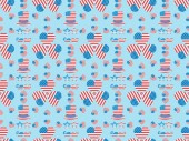 """Постер, картина, фотообои """"seamless background pattern with mustache, glasses, hats and hearts made of usa flags on blue """""""