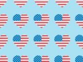 "Постер, картина, фотообои ""seamless background pattern with paper cut hearts made of usa flags on blue """