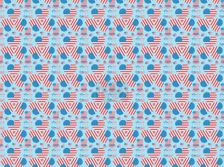 Foto de Seamless background pattern with mustache, glasses, hats and hearts made of national american flags on blue - Imagen libre de derechos