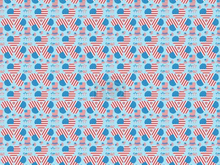 seamless background pattern with mustache, glasses, hats and hearts made of national american flags on blue