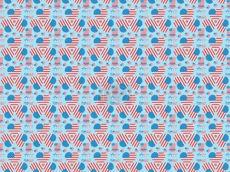 Foto de Patrón de fondo sin costuras con bigote, gafas, sombreros y corazones hechos de banderas nacionales americanas en azul - Imagen libre de derechos