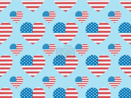 Photo for Seamless background pattern with paper cut hearts made of american flags on blue - Royalty Free Image