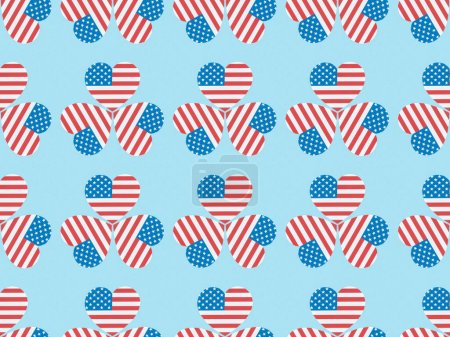 Foto de Seamless background pattern with hearts made of usa flags on blue - Imagen libre de derechos