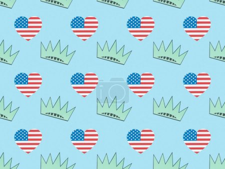 Foto de Seamless background pattern with hearts made of usa flags and crowns on blue, Independence Day concept - Imagen libre de derechos