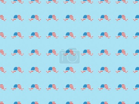 Foto de Seamless background pattern with paper cut mustache made of american flags on blue - Imagen libre de derechos