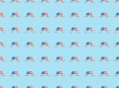 "Постер, картина, фотообои ""seamless background pattern with paper cut mustache made of american flags on blue """