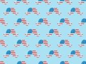 "Постер, картина, фотообои ""seamless background pattern with paper cut mustache made of usa flags on blue """