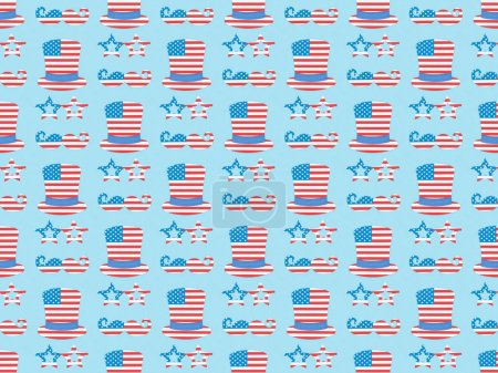 seamless background pattern with mustache, glasses, hats made of usa flags on blue