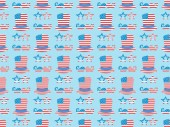 "Постер, картина, фотообои ""seamless background pattern with mustache, glasses, hats made of usa flags on blue """