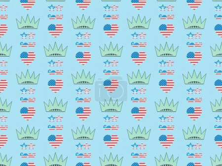 Photo for Seamless background pattern with hearts, mustache and glasses made of us national flags and crowns on blue, Independence Day concept - Royalty Free Image