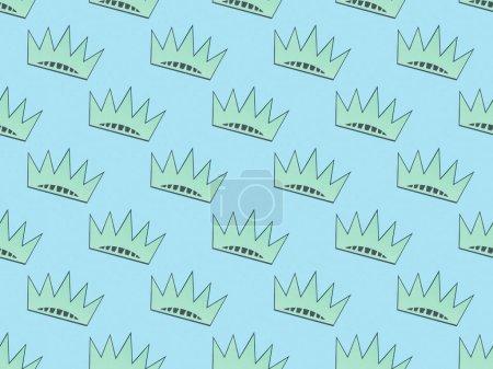 Photo pour Modèle de fond sans couture avec des couronnes turquoise sur le bleu clair, concept de jour d'indépendance - image libre de droit