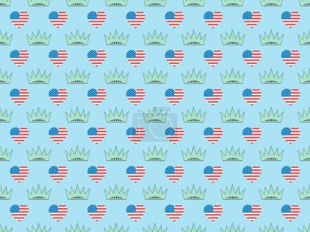 Photo for Seamless background pattern with hearts made of us flags and crowns on blue, Independence Day concept - Royalty Free Image