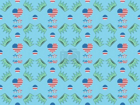 Foto de Seamless background pattern with hearts, mustache and glasses made of us flags and crowns on blue, Independence Day concept - Imagen libre de derechos