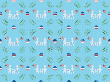 seamless background pattern with white paper cut families with american flags and crowns on blue, Independence Day concept