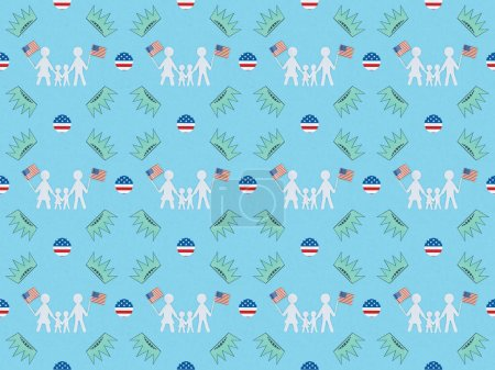 Foto de Seamless background pattern with white paper cut families with american flags and crowns on blue, Independence Day concept - Imagen libre de derechos