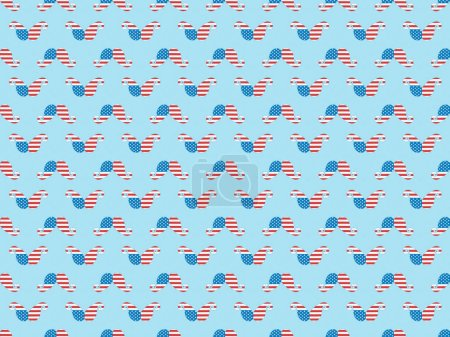 Photo for Seamless background pattern with paper cut mustache made of american national flags on blue - Royalty Free Image