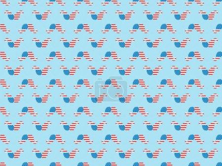 Photo pour Modèle de fond sans couture avec moustache coupée en papier faite de drapeaux nationaux américains sur le bleu - image libre de droit