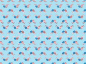 "Постер, картина, фотообои ""seamless background pattern with paper cut mustache made of american national flags on blue """