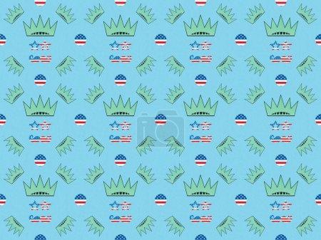 Photo pour Motif de fond sans couture avec moustache et lunettes faites de nous drapeaux et couronnes sur bleu, concept de fête de l'indépendance - image libre de droit