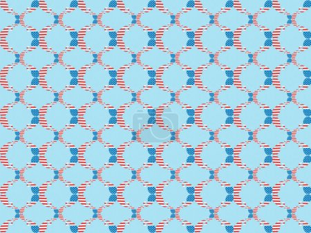 seamless background pattern with paper cut decorative mustache made of american national flags on blue