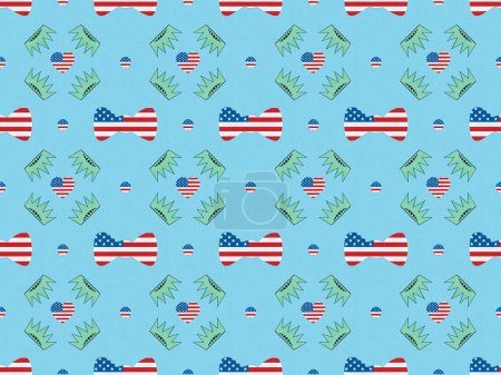 Photo for Seamless background pattern with bow ties, hearts and circles made of us flags and crowns on blue, Independence Day concept - Royalty Free Image