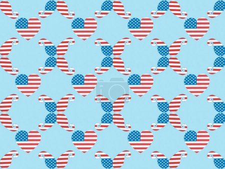 Foto de Seamless background pattern with paper cut decorative mustache and hearts made of american national flags on blue - Imagen libre de derechos