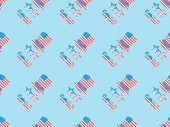 "Постер, картина, фотообои ""seamless background pattern with paper cut decorative mustache, glasses and hats made of american national flags on blue """