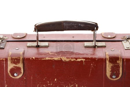 Photo for Close up view of handle on vintage brown suitcase isolated on white - Royalty Free Image