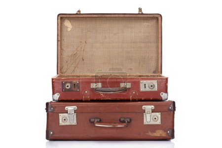 Photo for Two vintage brown leather suitcases with one opened isolated on white - Royalty Free Image