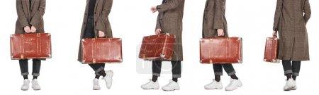 Photo pour Collage de femme dans le manteau à carreaux retenant la valise altérée de cru d'isolement sur le blanc - image libre de droit