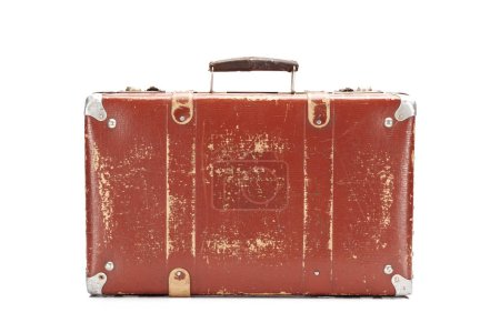 Photo for Weathered leather brown vintage suitcase isolated on white - Royalty Free Image