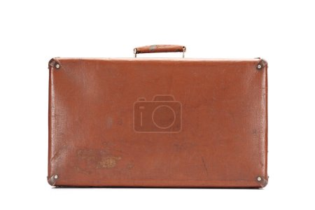 leather brown vintage suitcase isolated on white