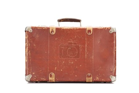 weathered brown vintage suitcase isolated on white