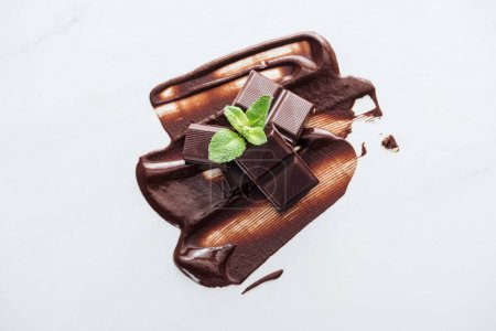 Photo for Top view of pieces of chocolate bar and fresh mint on white background - Royalty Free Image