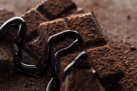 Photo for Selective focus of chocolate bar with melted chocolate and cocoa powder - Royalty Free Image