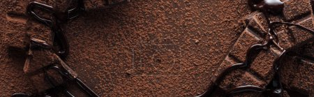 Photo for Panoramic shot of pieces of chocolate bar with melted chocolate and cocoa powder - Royalty Free Image