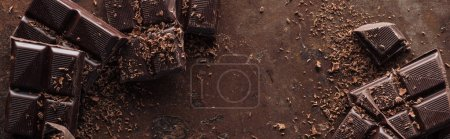 Photo for Panoramic shot of pieces of chocolate with chocolate chips on metal background - Royalty Free Image