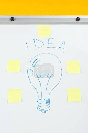 Photo pour Fermer la vue vers le haut de l'idée de mot et de l'ampoule dessinée avec des autocollants sur la feuille blanche - image libre de droit