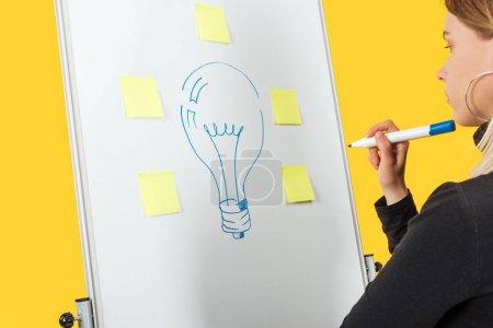 Photo pour Femme d'affaires réussie regardant l'idée de mot et l'ampoule dessinée avec des autocollants sur le flipchart blanc - image libre de droit