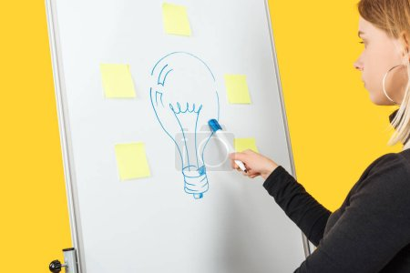 Photo for Cropped view of businesswoman standing near white flipchart, pointing at light bulb drawn - Royalty Free Image