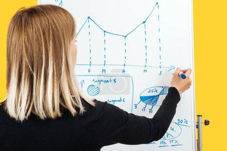 Photo pour Vue arrière de la femme d'affaires restant près de flipchart blanc, dessinant des graphiques et des diagrammes - image libre de droit