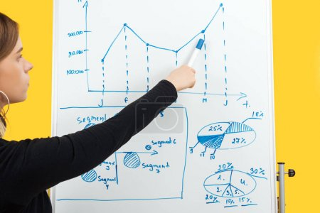 Photo pour Businesswoman standing near white flipchart, pointing at graphics and diagrams - image libre de droit
