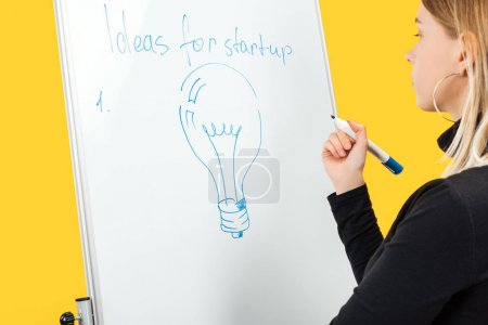 Photo for Focused businesswoman standing near white flipchart with copy space and light bulb drawn - Royalty Free Image