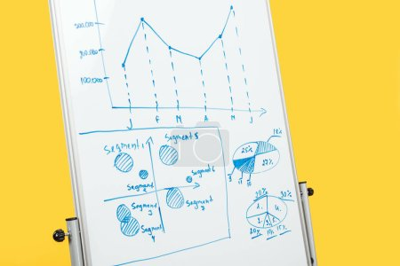 Photo pour Tableau de bureau blanc avec espace de copie, graphiques et diagrammes isolés sur jaune - image libre de droit