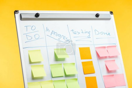 Photo pour White office board with sticky notes isolated on yellow - image libre de droit