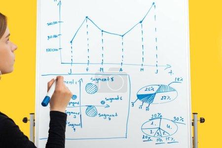 Photo pour Vue recadrée de la femme d'affaires dessinant des graphiques et des diagrammes sur flipchart blanc - image libre de droit