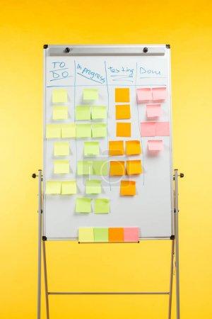 Photo pour Tableau de bureau blanc avec des notes collantes et l'espace de copie isolé sur jaune - image libre de droit