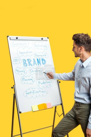 Photo pour Side view of businessman standing near white office board with sticky notes, pointing at words isolated on yellow - image libre de droit