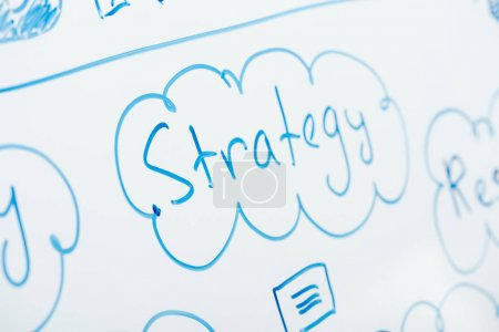 Photo for Selective focus of word strategy written on white flipchart - Royalty Free Image